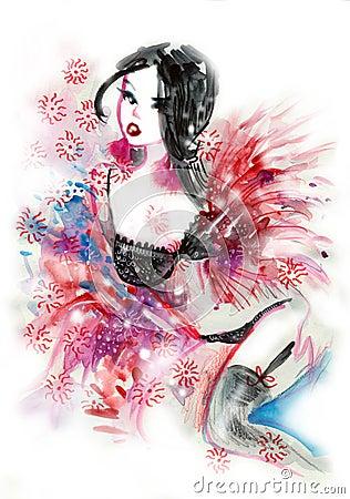 Brunette wearing sexy lingerie watercolor