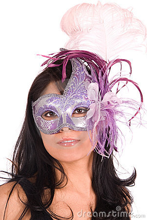 Brunette wearing Venetian mask