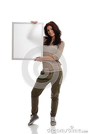 Brunette with White Billboard