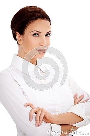 Brunette in white blouse