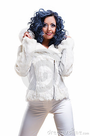 Brunette in white fur coat