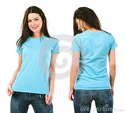 Free Brunette With Blank Light Blue Shirt Stock Image - 36646241