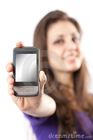 Free Brunette With Mobile Phone Or PDA Royalty Free Stock Photography - 13127297