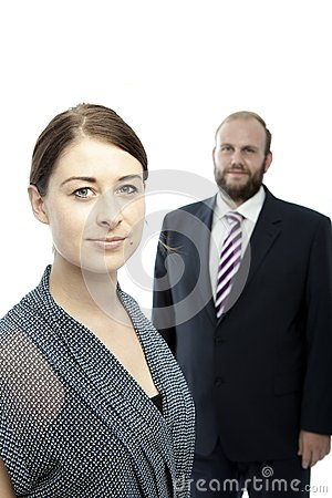 Brunette woman and beard business man portrait