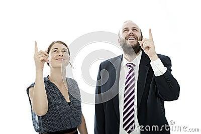 Brunette woman and beard business man show up