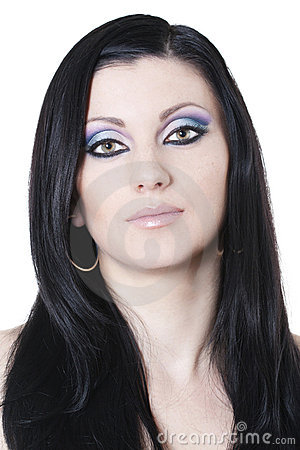 Brunette woman with blue and purple makeup