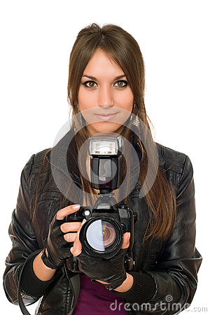 Brunette woman with the camera
