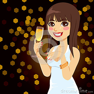 Brunette Woman Champagne