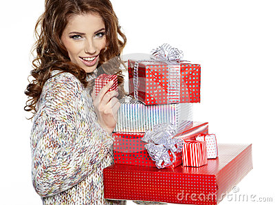 Brunette woman with a gift boxes