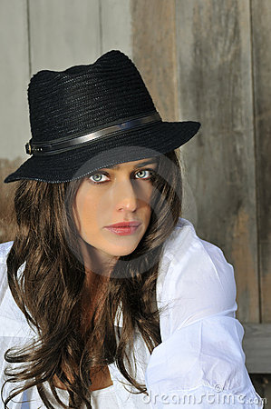 Brunette Woman with Hat