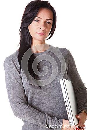 Brunette woman hug laptop computer