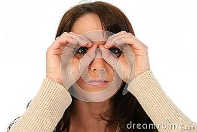Brunette Woman Peeping Holes