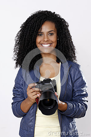 Free Brunette Woman Photographer Stock Images - 47810194
