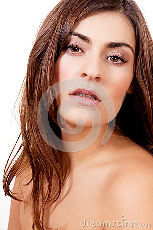 Brunette woman portrait natural makeup isolated