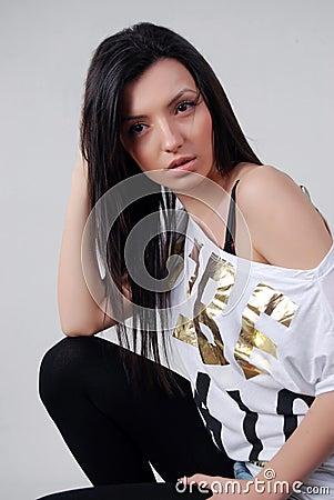 Brunette woman posing