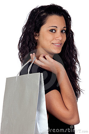 Brunette woman in shopping