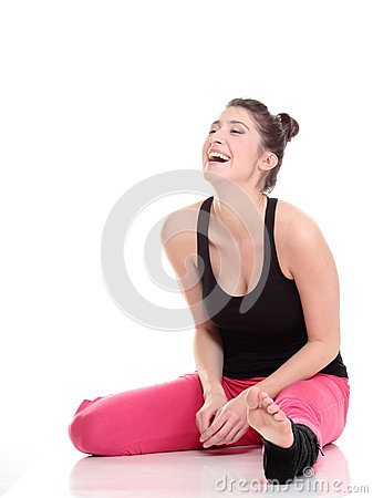 Brunette woman stretching muscles arms