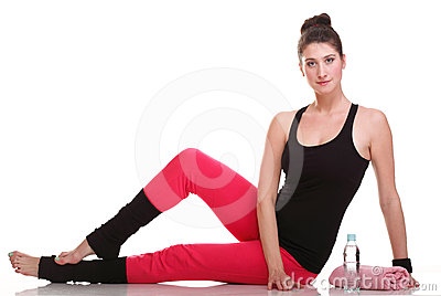 brunette woman stretching muscles arms isolated