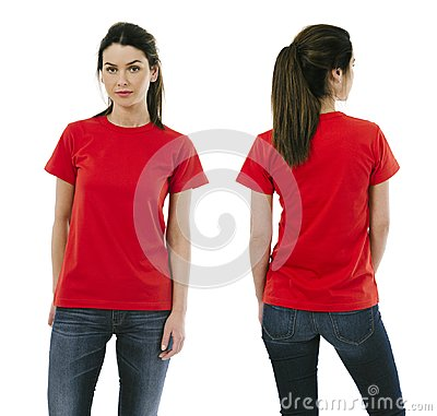 Free Brunette Woman Wearing Blank Red Shirt Royalty Free Stock Photo - 107306875