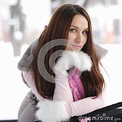 Brunette woman in winter day