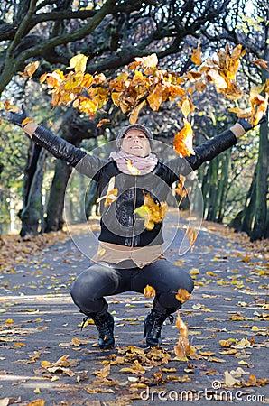 Brunette women s autumn expression
