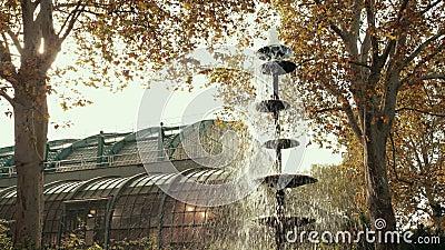 Brunnen, aus dem Wassertröpfchen in einem wunderschönen botanischen Garten in Europa fließen stock video