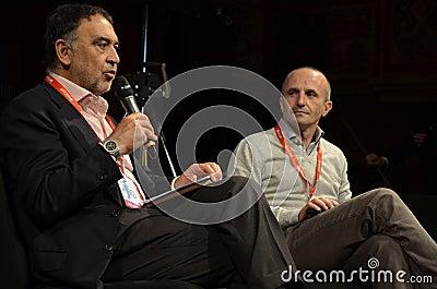 Bruno Manfellotto and Fabrizio Gatti - L espresso Editorial Stock Image