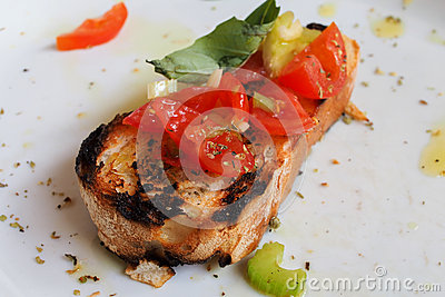 Bruscetta bread with tomatoes