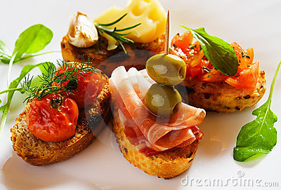 Bruschette, italian toasted bread
