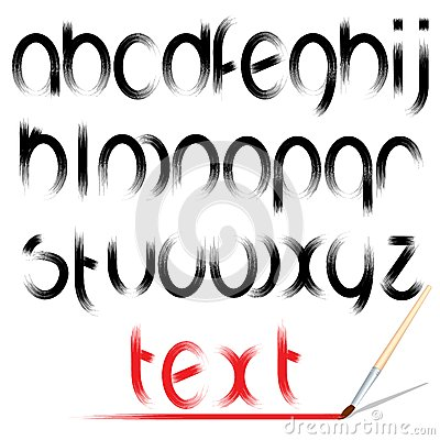 Brush Alphabet. Vector Design Font
