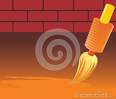 Brush and brick wall