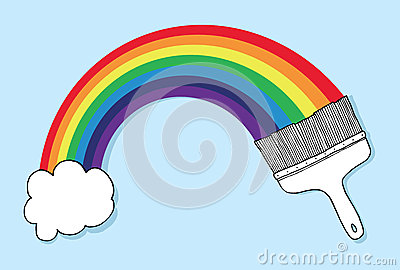 Brush and cloud forming a rainbow