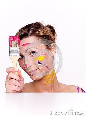 Brush colorful paint portrait