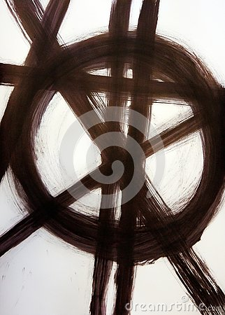 Brush drawn straight intersecting lines and a circle. Stock Photo