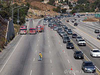 Brush Fire Traffic Jam on 118 Fwy Editorial Stock Photo