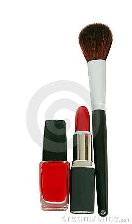 Brush, lipstick and nail polish