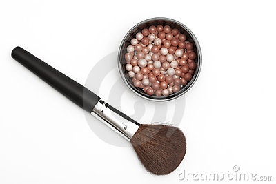 Brush for make-up with powder balls