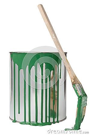 Brush and paint bucket