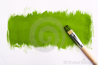 Brush for paint. On gray background