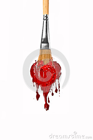 Brush paint red color melting heart