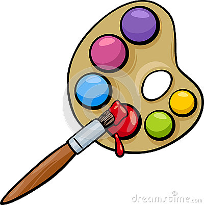Brush and palette clip art cartoon