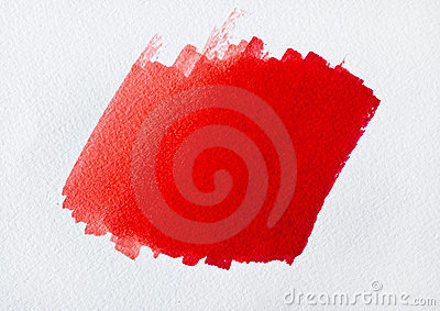 Brush red color on white paper
