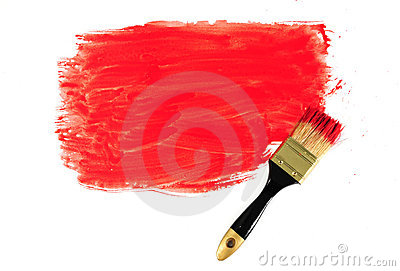 Brush and red paint
