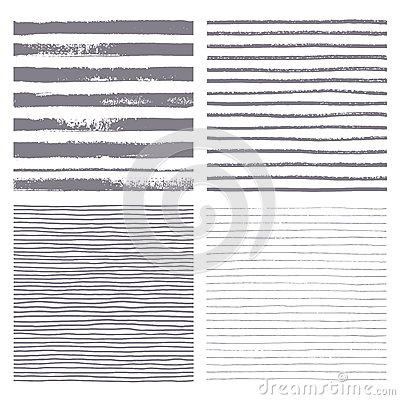 Brush stripes vector seamless pattern. Set of thin and thick lines. Vector Illustration