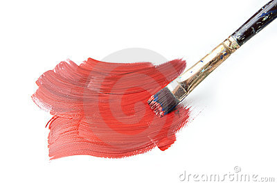 Brush Stroke with Paintbrush Isolated on White