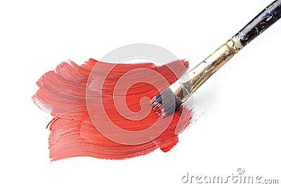 Brush Stroke with Paintbrush Isolated on White