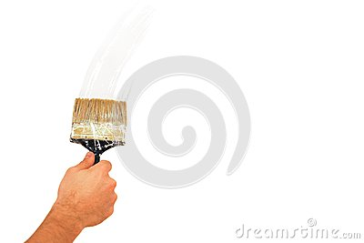 Brush stroke on a white wall