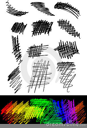 Brush Strokes Pencil Vector Set Crosshatch