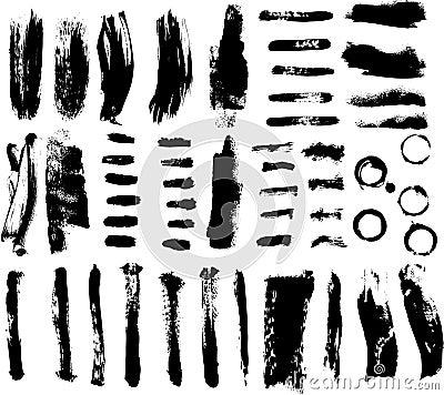 Brush strokes vector set