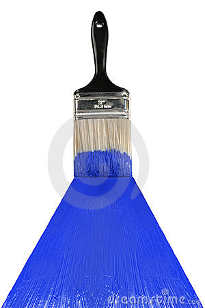 Free Brush With Blue Paint Royalty Free Stock Photo - 13769315